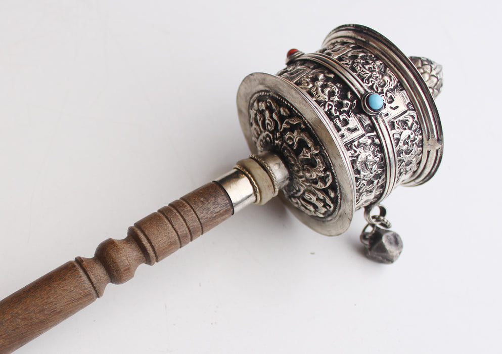 Newari Ranjana Script(Lantsa) Carved White Metal Handheld Prayer Wheel - nepacrafts
