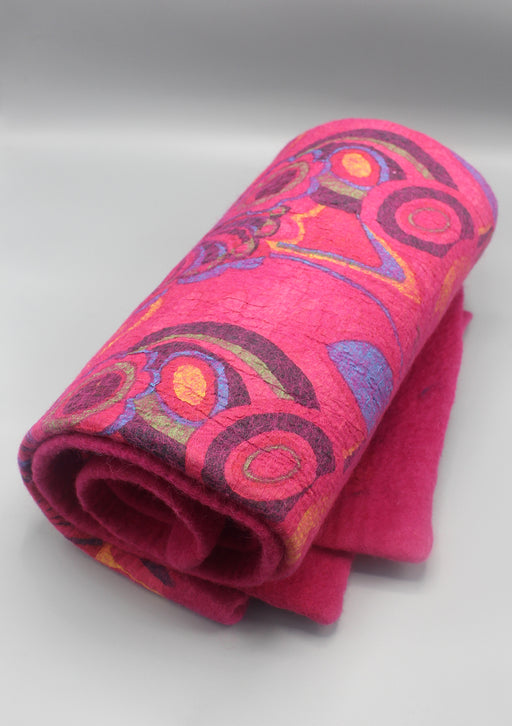 Bright Pink Felt Wool Flower Print Indoor Mat - nepacrafts