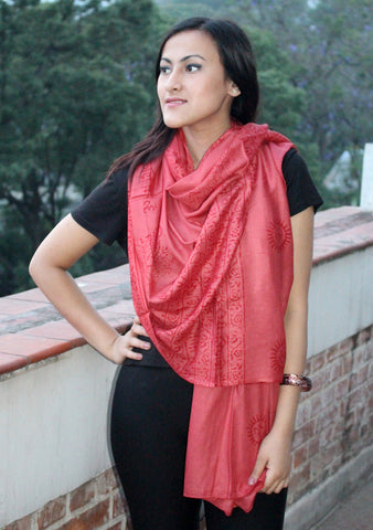Hindu Om Printed Coral Brown Cotton Shawl From Nepal - NepaCrafts