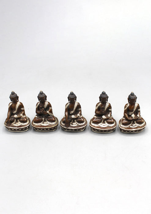 Copper Five Dhyani Buddhas with Silver Robe Statue, Panchha Buddha Statue