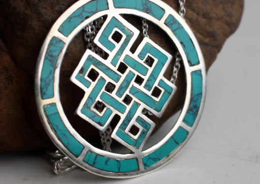 Turquoise Inlaid Endless Knot Sterling Silver Pendant - nepacrafts