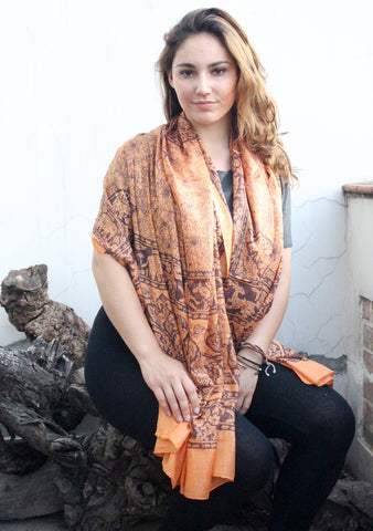 Elephant and Flower Print Orange Cotton Scarf/Shawl for Summer - NepaCrafts