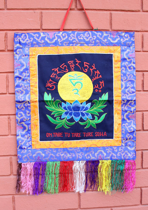 Tara Mantra with Lotus Embroidered Tibetan Buddhist Wall Hanging Banner - nepacrafts