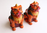 Hand Carved and Painted Pair of Clay Temple Lion Statue - NepaCrafts