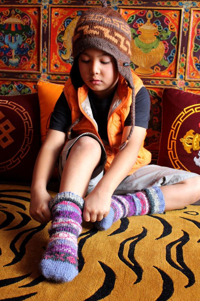Light Blue Multicolored  Childrens Woolen Socks