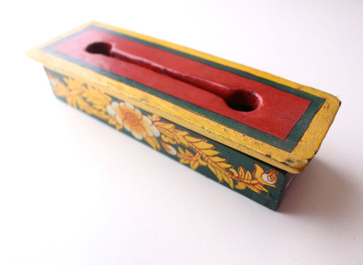 Green Flower Painted Mini Wooden Incense Burner Box - nepacrafts