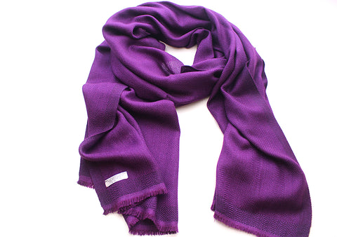 100 % Exclusive Purple Cashmere Shawl with Border Herringbone Pattern