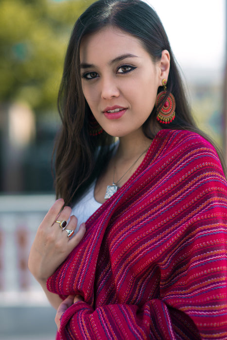 Exclusive Yak Wool Stripe Red Shawl - nepacrafts