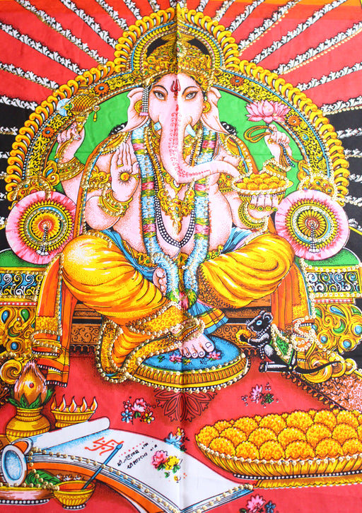 Hindu Lord Ganesha Printed Cotton Fabric Tapestry Wall Hanging - nepacrafts