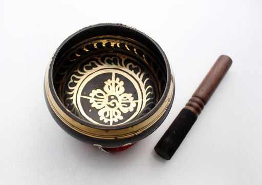Brown Hand Painted Double Dorjee Singing Bowl - nepacrafts