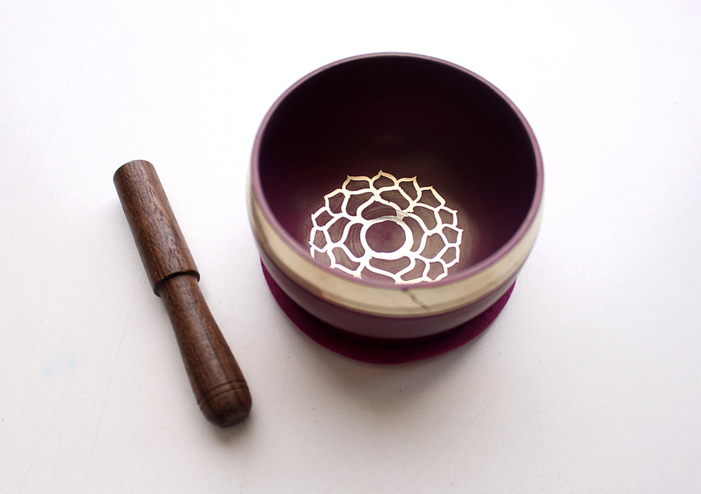 Root Chakra Painted Singing Bowl with Cushion and Stupa Stick in a Gift Box - nepacrafts