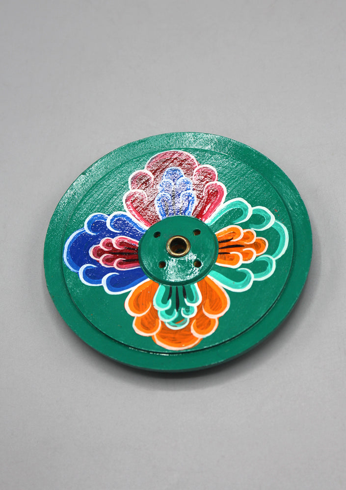 Green Hand Painted Round Floral Wooden Incense Burner