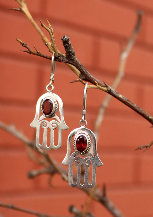 Silver Sterling Hamsa, Hand of Fatima Earrings with Garnet Inlays - nepacrafts