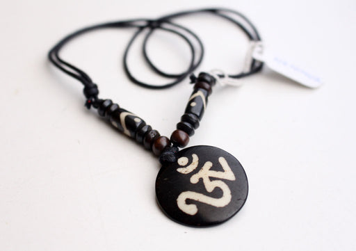 Hindu Power Mantra Om Bone Necklace - nepacrafts
