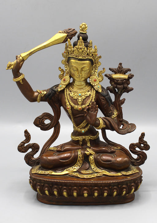 Partly Gold Painted Copper Tibetan Manjushree Statue