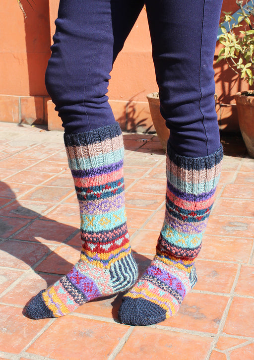 Dark Blue MultiColor Woolen Knee High Socks