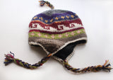 Hand Knitted Ear Flap Grey Maroon Color Warm Woolen Sherpa Cap - NepaCrafts