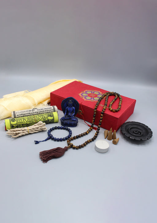 Prayer Flags, Prayer Beads and Incense Buddhist Om Mani Travel Gift Box