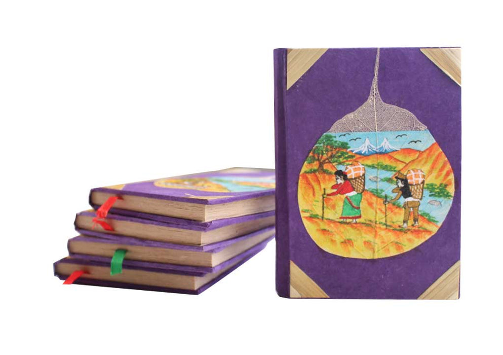 Porters Life in the Himalayas Painted Lokta Paper Journal - nepacrafts