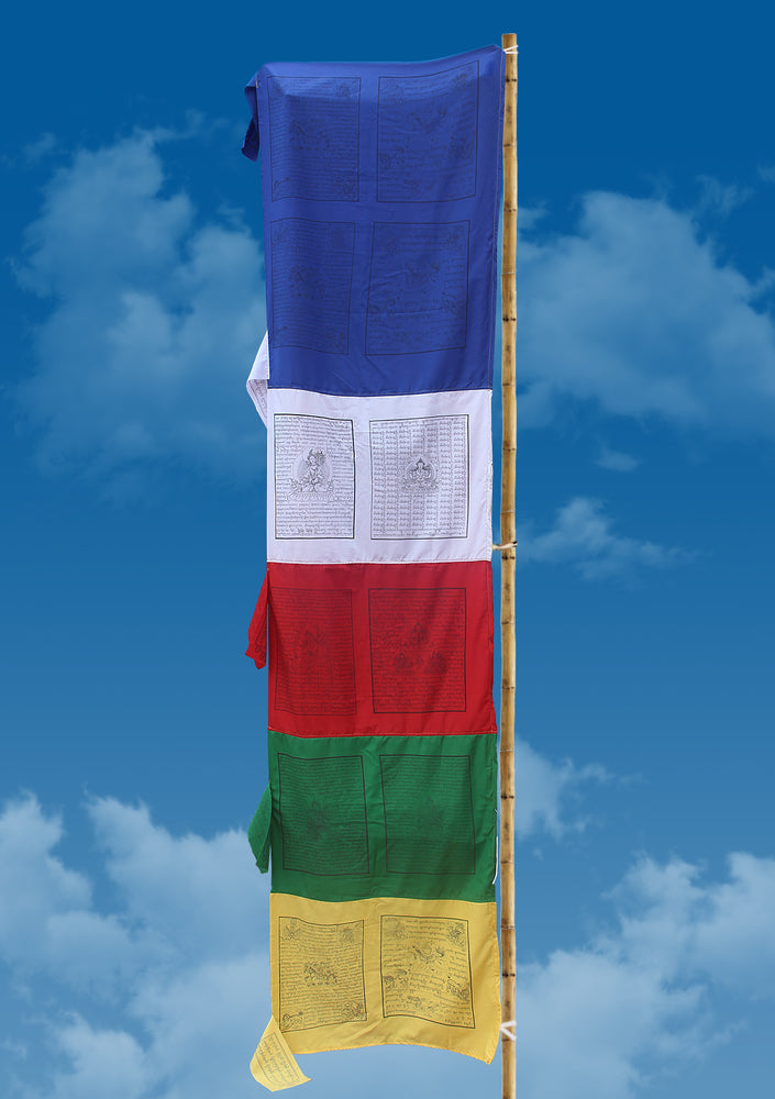 Large Vertical Double Print Tibetan Deities and Windhorse Prayer Flags - nepacrafts