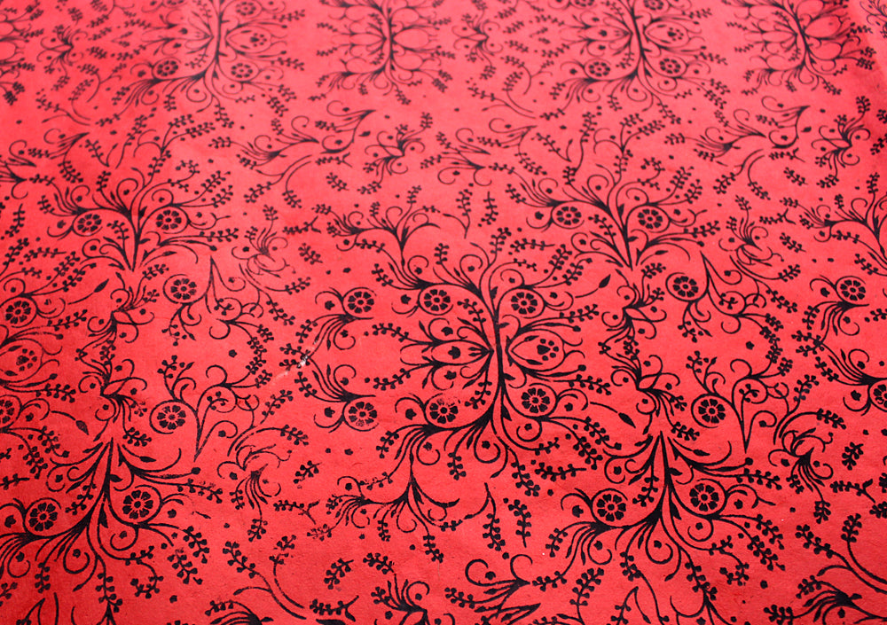 White Flower and Leaf Printed Red Handmade Gift Wrapping Lokta Paper Sheets