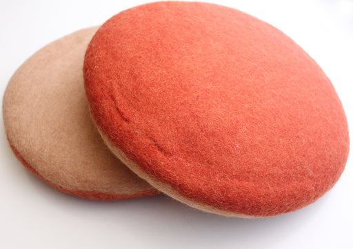 Felt Orange Color Round Cushion for Stump Seating - nepacrafts