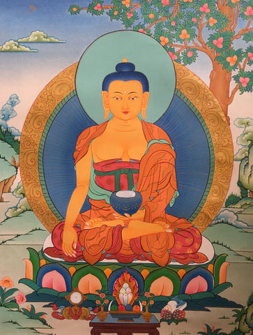 Peaceful thangka of Shakyamuni 66x50cm NTH124