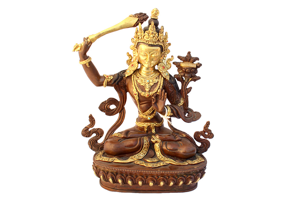 Unique Gold Plated Manjushri Statue 8 Inch - nepacrafts