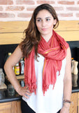 Beautiful Coral Plain Jari Scarf, Cotton Shawl From Nepal - NepaCrafts