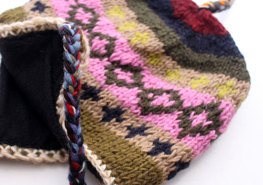 Multi Color Hand Knitted Ear Flap Woolen Sherpa Cap - nepacrafts