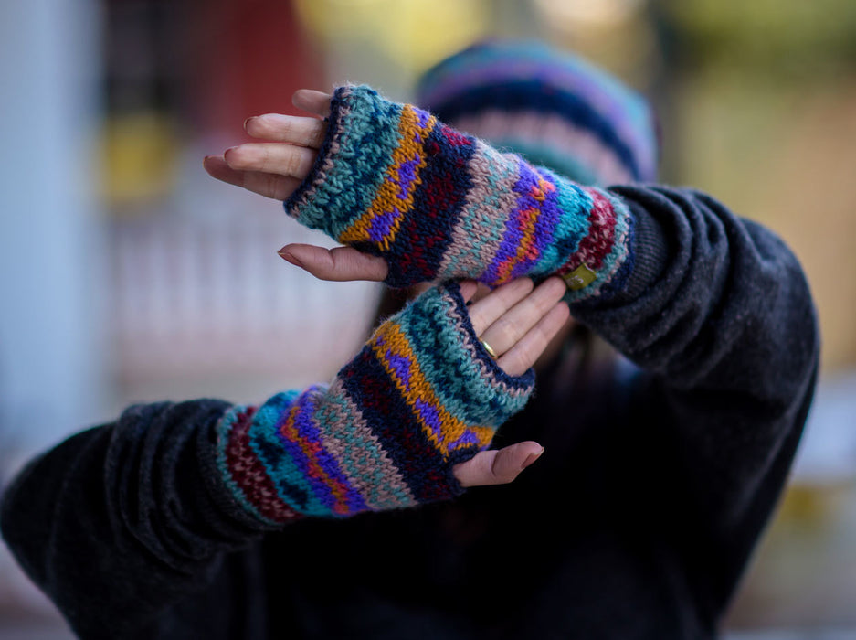 Dark Blue Multicolor Woolen Hand Warmers or Texting Gloves