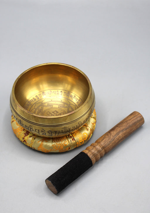 Tibetan Endless Knot Mandala Carving Singing Bowl