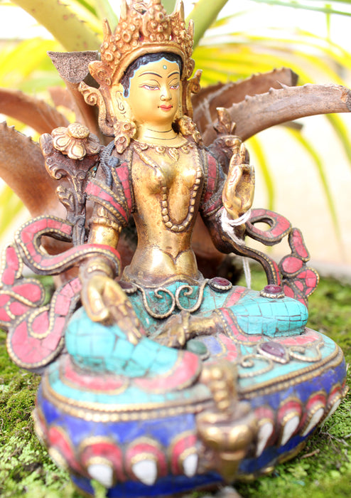 "6"" High Glowing Green Tara Statue with Inlaid Turquoise - nepacrafts"