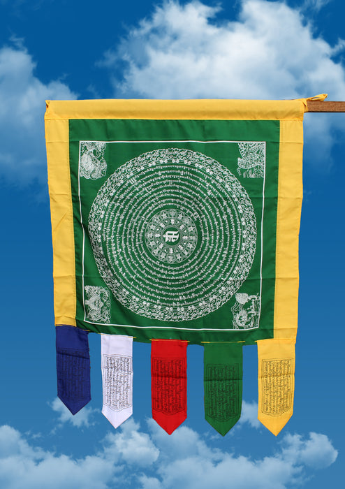 Green Color Namgyalma Powerful Mantra Printed Cotton Prayer Flags