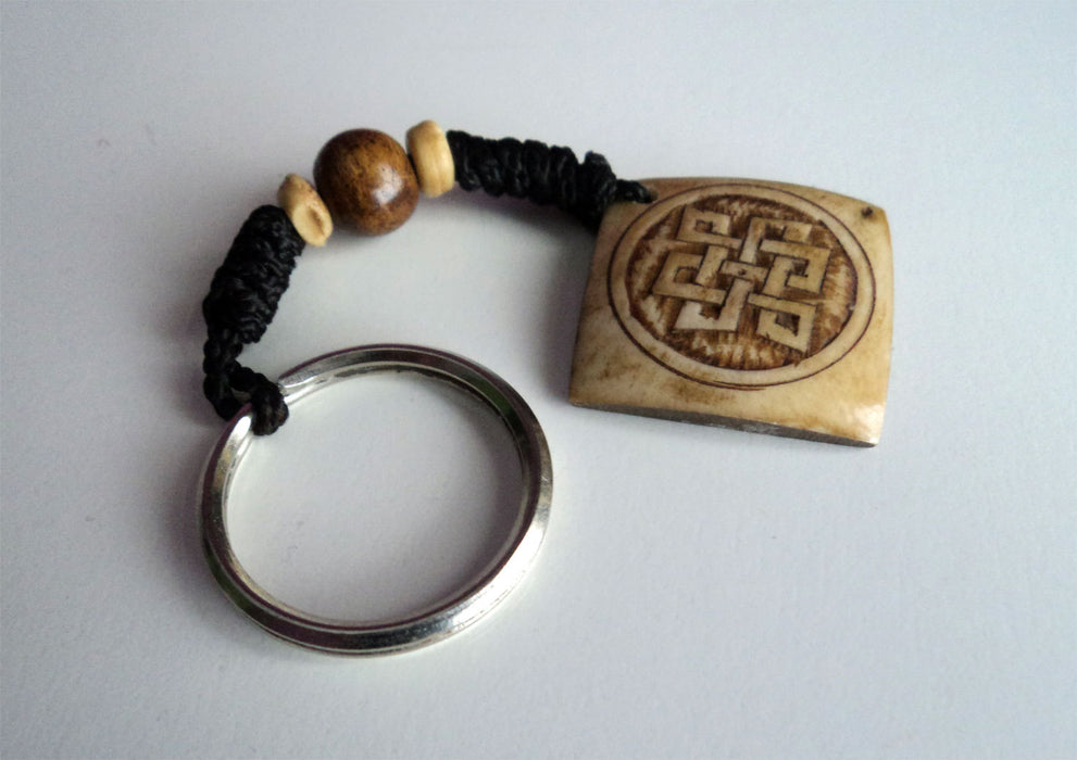 Hand Crafted Tibetan Endless Knot Bone Keychains - nepacrafts