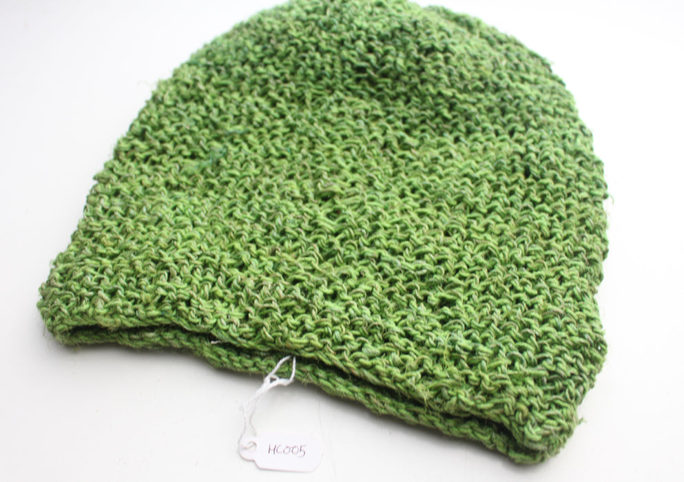 Light Weight and Soft Hand Knitted Green Hemp Beanie, Hemp Cap - nepacrafts