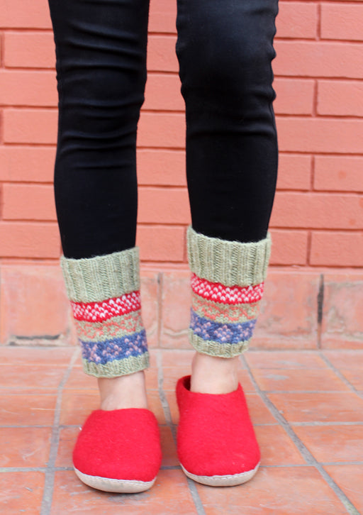 Light Green Red Multicolor Christmas Gift Woolen Legwarmers - nepacrafts