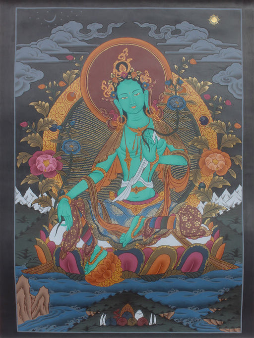 1.1 Buddhist Deity Thangka Painting of Green Tara