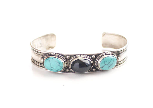 Inlaid Turquoise White Metal Bracelet - nepacrafts
