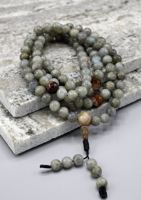Labradorite Beads Tibetan Meditation Prayer Mala - nepacrafts