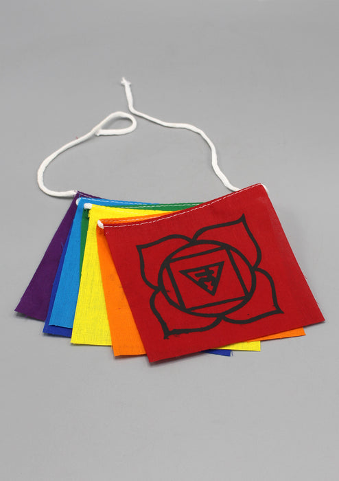 Seven Chakra Symbol Cotton Prayer Flags - nepacrafts