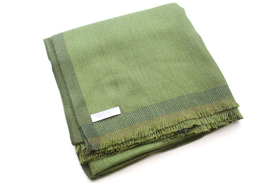 100 % Exclusive Green Cashmere Shawl with Border Herringbone Pattern - nepacrafts