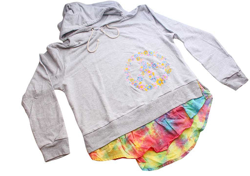 Cotton Women's Casual Hoodie Embroidered with Flower - nepacrafts