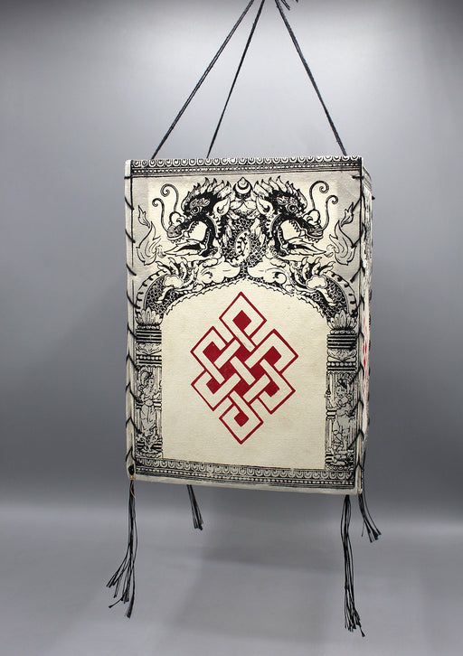 Endless Knot Printed Lokta Paper Lamp Shade