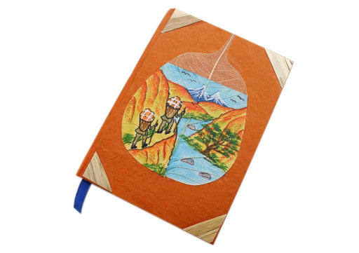 Two Porters in the Himalayas Painted Lokta Paper Pokcet Journal - nepacrafts