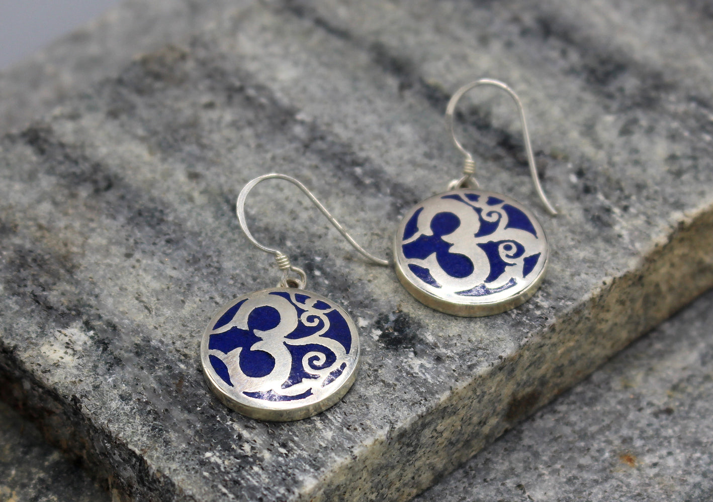 Om Round Sterling Silver Earrings - nepacrafts