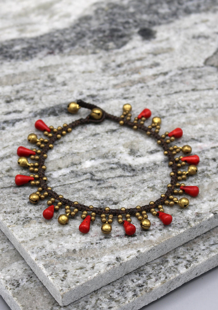 Fancy Brass Beads Women's Anklet - nepacrafts