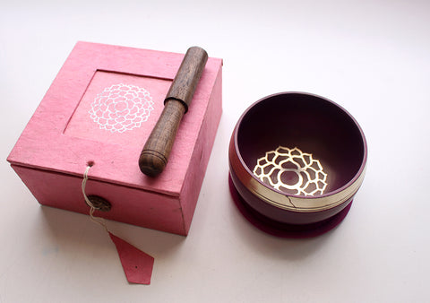 Crown Painted Singing Bowl with Cushion and Stupa Stick in a Gift Box