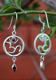 Hindu Om in a Circle Silver Sterling Drop Earrings - NepaCrafts