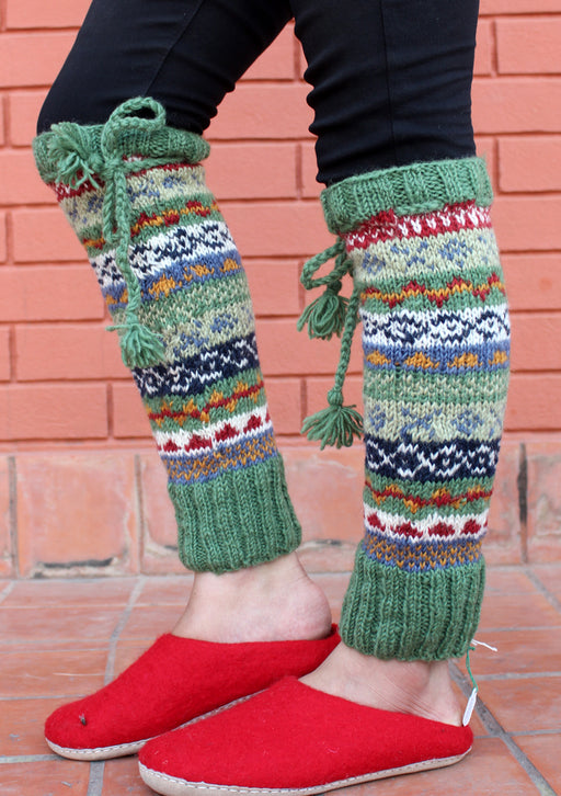 Hand Knitted Green Multicolor Winter Leg Warmers with Knitted Lace - nepacrafts